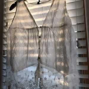 Sheer lacey white blouse